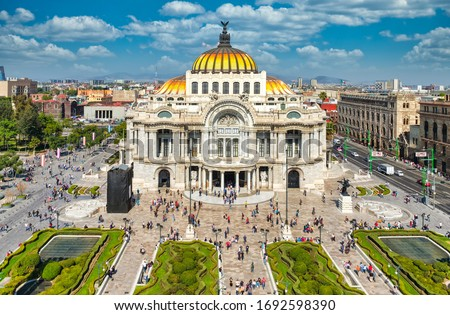 Palacio de Bellas Artes or Palace of Fine Arts, a famous theater,museum and music venue in Mexico City #1692598390
