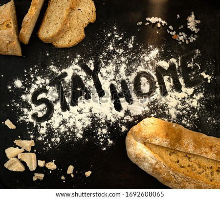Stay home. Baking bread at home. Learn to bake bread. Royalty-Free Stock Photo #1692608065