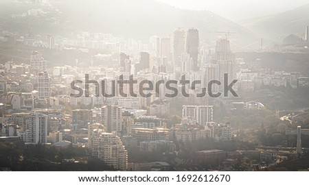 Panoramic aerial view to Axis towers and high buildings  in Vake and Rustaveli district of Tbilisi.Georgia. Sakartvelo. Monochromic background image.2020 #1692612670