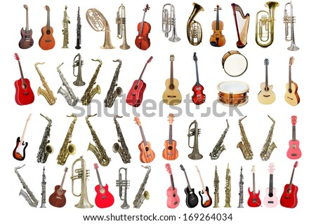 Musical instruments isolated under a white background Royalty-Free Stock Photo #169264034