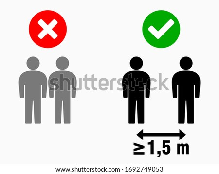 Social Distancing at Least 1,5 Meters Icon. Vector Image. #1692749053