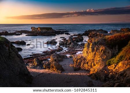 sunset at the glass beach, California