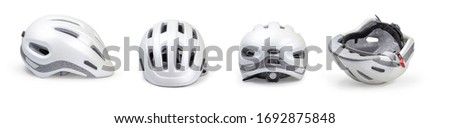 Bicycle helmet In various ways. On a white background clipping path. Royalty-Free Stock Photo #1692875848