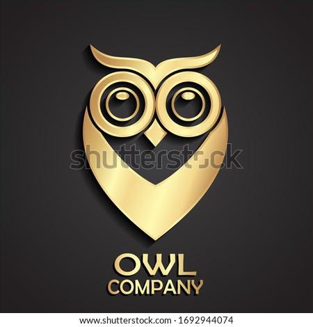3d golden owl simple shape logo desing #1692944074