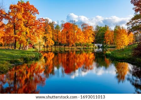 Alexander park in autumn, Pushkin (Tsarskoe Selo), St. Petersburg, Russia Royalty-Free Stock Photo #1693011013