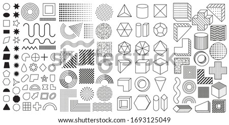 Set of 100 geometric shapes. Mega set of memphis design elements, template for your project. Collection trendy halftone vector geometric shapes. #1693125049