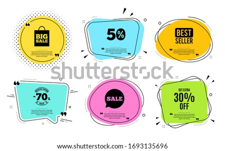 Get Extra 30% off Sale. Best seller, quote text. Discount offer price sign. Special offer symbol. Save 30 percentages. Quotation bubble. Banner badge, texting quote boxes. Extra discount text. #1693135696