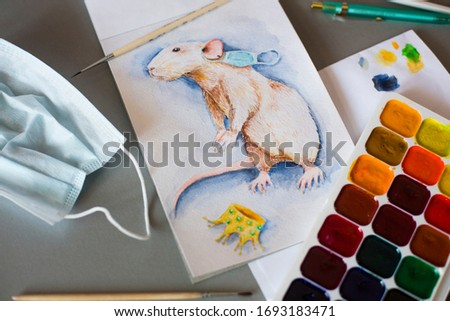 Watercolor picture or illustration or rat with protective mask on ear and gold crown