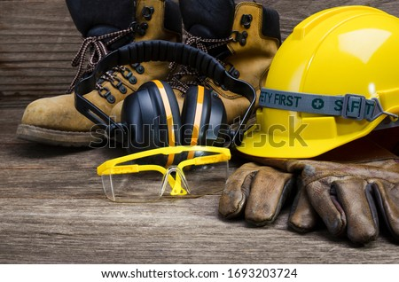 Standard construction safety,safety first concepts,Construction site safety. Royalty-Free Stock Photo #1693203724