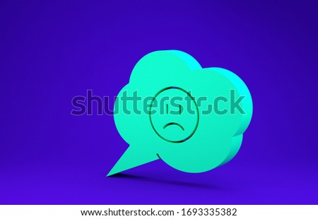 Green Speech bubble with sad smile icon isolated on blue background. Emoticon face. Minimalism concept. 3d illustration 3D render