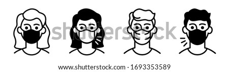 icons man in medical face protection mask, woman with mouth mask sick and healthy. #1693353589
