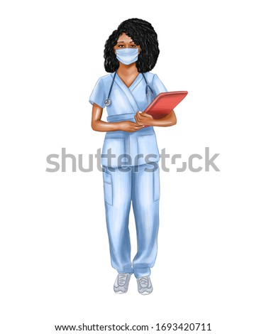 Illustration of a female doctor with a folder in her hands.