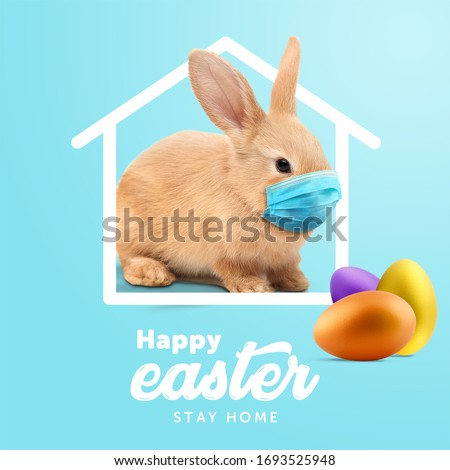 Creative minimal Happy Easter design  the rabbit inside of home line with mask for coronavirus (Covid-19) colorful eggs around the composition shows message Happy easter and stay home.(instagram size)