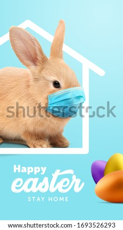 Creative minimal Happy Easter design  the rabbit inside of home line with mask for coronavirus (Covid-19) colorful eggs around the composition shows message Happy easter and stay home. (Story size) #1693526293