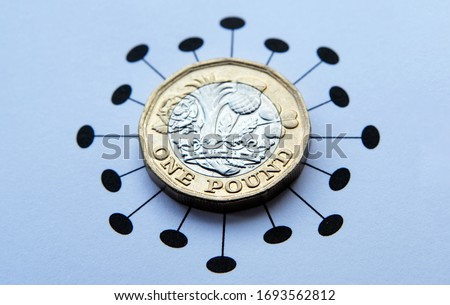 One pound coins placed on top of Coronavirus COVID-19 printed illustration. Concept photo for financial impact of pandemic and quarantine. Royalty-Free Stock Photo #1693562812