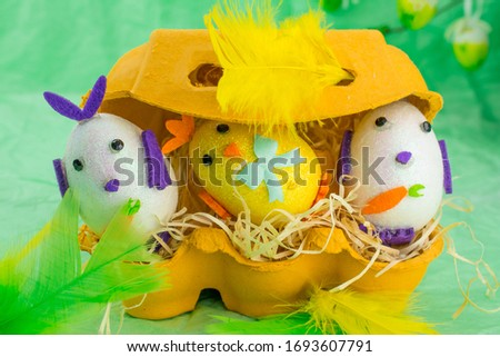 easter decoration chic and bunny with flowers and eggs