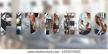 Workout session. Beautiful caucasian woman doing sport exercises at gym with an overlay of the word FITNESS. Panoramic banner header. Sport background. Healthy lifestyle