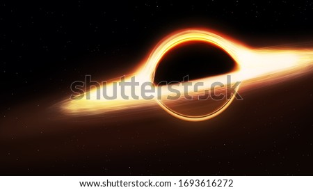black hole and a disk of glowing plasma. Supermassive singularity in outer space, end of the evolution of supermassive stars, or core of a galaxy #1693616272