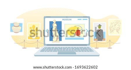 Online art gallery banner. Virtual museum in modern laptop isolated on white background. Online exhibition Tours, Internet technology. Home leisure on mobile devices. Web tourism Vector concept. #1693622602