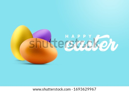 Creative minimal Happy Easter layout colorful eggs and the text message ''Happy Easter'' together on the sweet blue background. (Twitter Size)