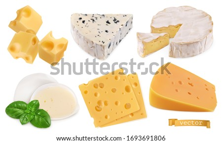 Cheese 3d realistic vector objects, food set illustration #1693691806
