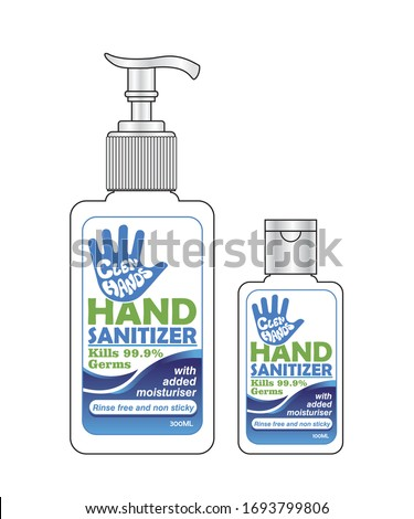 Hand sanitizer label design vector graphic template for packaging design. #1693799806