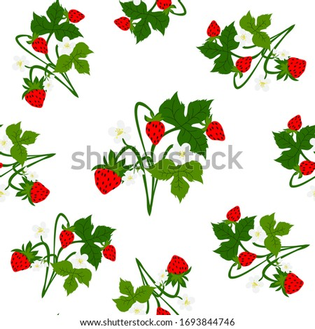 Strawberry Bush with red berries, white flowers and green leaves, seamless pattern for printing Wallpaper, fabrics #1693844746
