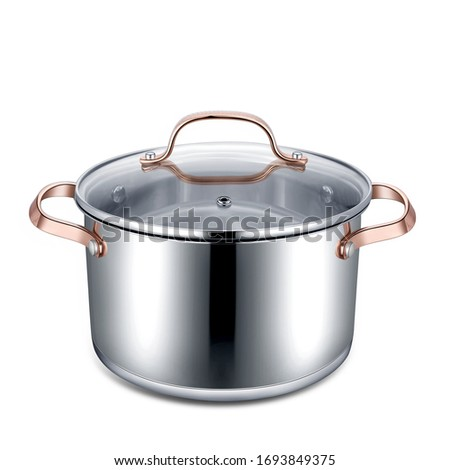 Stainless steel pots and pans isolated on white background #1693849375