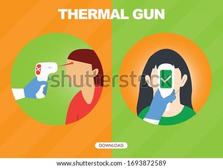 Thermometer gun for forehead to checking temperature. Prevention CoronaVirus concept