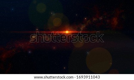 Lot of stars with nebula and and optical flare - Space Vision #1693911043