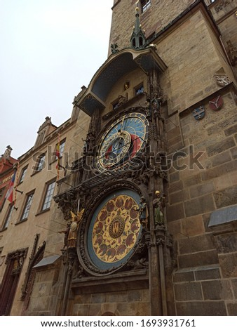 Picture of the Prague astronomical clock in HD one cloudy day in Prague. In this picture you can see main details of the famous clock in Prague