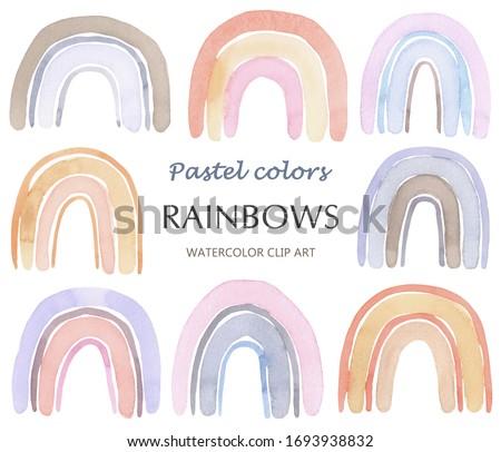 Watercolor Rainbow, Boho Rainbow, Boho Design, Pastel Color, Natural Tones Clip Art Rainbow, Minimalism Stile Rainbows, Home Decor, Nursery Decor, Happy Rainbow, Watercolor Clip Art, Illustration