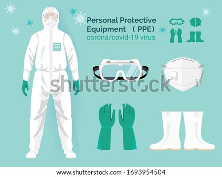 vector set illustration of personal protective equipment concept.  doctor in protective PPE suit wearing Safety White Hooded Protection Suit Anti-Chemical Wear Labface mask and eyeglasses. Royalty-Free Stock Photo #1693954504