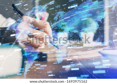 Double exposure of woman's hands on background with technology and digital coding icons. Data development concept. Close up. #1693975162