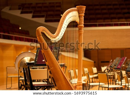 Harp in a large concert hall. Musical instrument.The concert harp Royalty-Free Stock Photo #1693975615