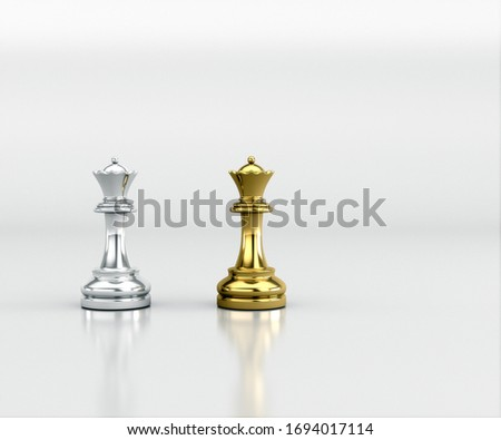 Gold and Silver chess, Isolate Clipping Path, Clipping Mask. Gold and Silver chess battle, Chess victory, chess concept, 3d illustration.
