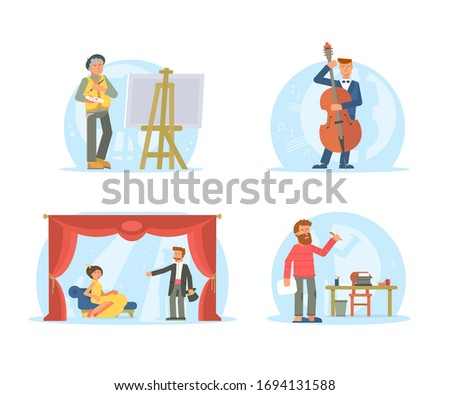 Creative jobs, careers illustrations set. Actors, artist, writer, musician characters pack. Artistic hobby, occupation isolated cliparts. Theater performance. Writing, painting process. Raster copy
