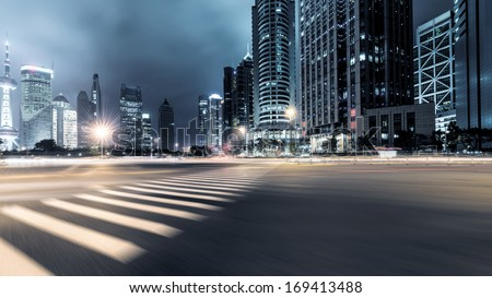 the night view of the lujiazui financial centre in shanghai china #169413488
