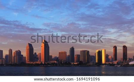 San Diego, California cityscape seen at twilight
