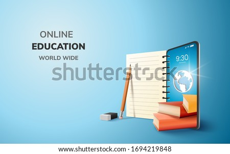 Digital Online Education Application learning world wide on phone, mobile website background. social distance concept. decor by book lecture pencil eraser mobile. 3D vector Illustration - copy space #1694219848