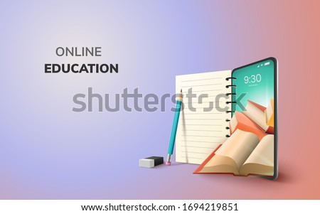 Digital Online Education Application learning world wide on phone, mobile website background. social distance concept. decor by book lecture pencil eraser mobile. 3D vector Illustration - copy space #1694219851