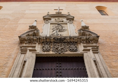 Historic buildings and monuments of Seville, Spain. Architectural details, stone facade and museums Europe. Spanish architectural styles of Gothic and Mudejar, Baroque #1694245315