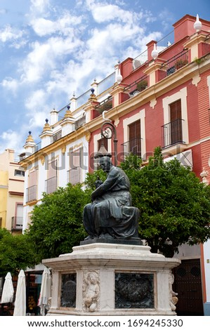 Historic buildings and monuments of Seville, Spain. Architectural details, stone facade and museums Europe. Plaza del Salvador. Juan Martinez Montanes. #1694245330