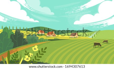 Rural landscape with field, trees, grass and cows. Ecologically clean area with blue sky and clouds. Village in the summer. Vector stock flat style illustration or background for eco products, banner. #1694307613