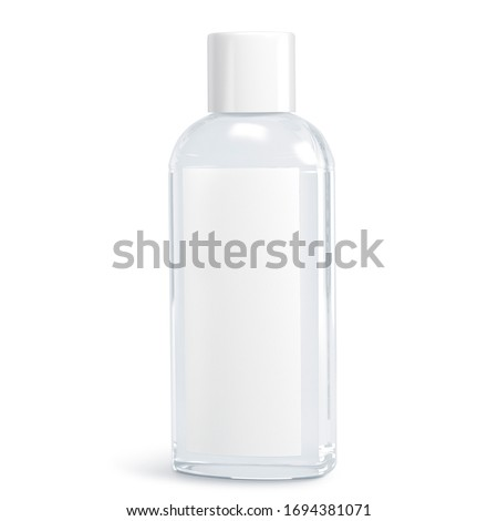 White cosmetic bottles isolated on white background. Hand sanitizer bottle. Antimicrobial liquid gel. Hand hygiene. Shampoo bottle. 3D rendering #1694381071