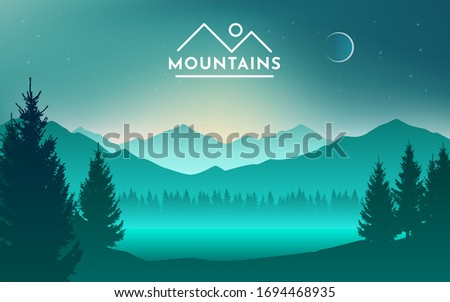 Mountains and lake at night landscape flat vector illustration. Nature scenery with fir trees and hill peaks silhouettes on horizon. Valley, river and starry sky scene background. Royalty-Free Stock Photo #1694468935