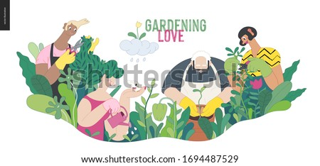 Gardening people, spring - modern flat vector concept illustration of people in the garden wearing aprons and gloves, gardening, watering, planting, cutting branches. Spring gardening concept #1694487529
