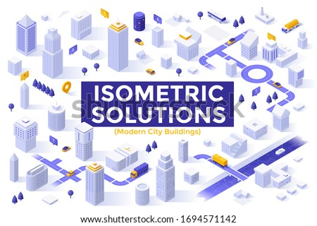 Bundle of megapolis city buildings, downtown skyscrapers, suburban houses. Set of isometric design elements or objects isolated on white background. Modern vector illustration for map construction. Royalty-Free Stock Photo #1694571142
