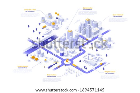 Isometric map, plan, scheme of modern megapolis riverside city with different zones - downtown, industrial district with power plants, suburban area. Infographic design template. Vector illustration. Royalty-Free Stock Photo #1694571145