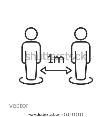 social distance icon,measure protection from spread virus, prevention safety, people isolation from coronavirus, thin line web symbol on white background - editable stroke vector illustration eps10 Royalty-Free Stock Photo #1694582593
